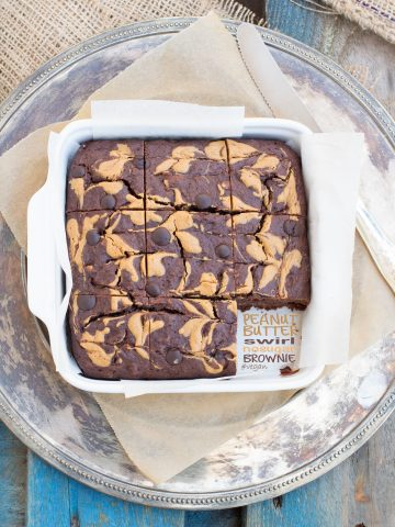 Peanut butter swirl brownie #vegan #nosugar #nomilk #glutenfree version included