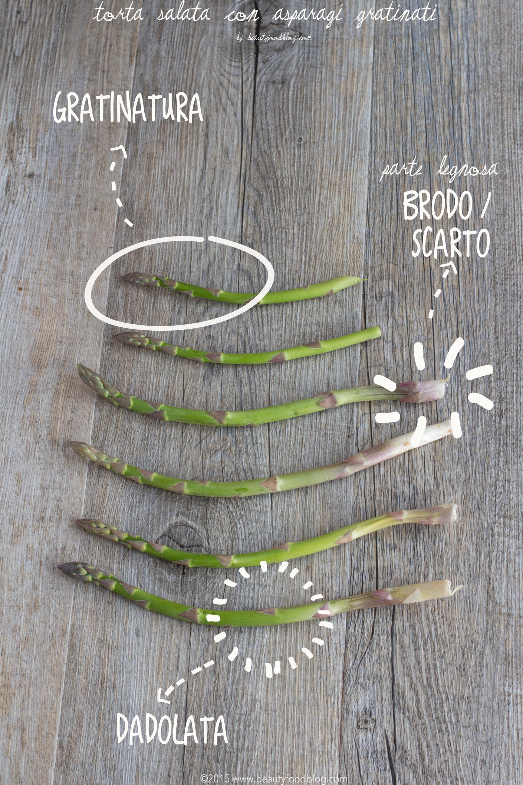 come pulire gli asparagi per Torta salata light con farina di Kamut e asparagi gratinati e cicorino #vegan