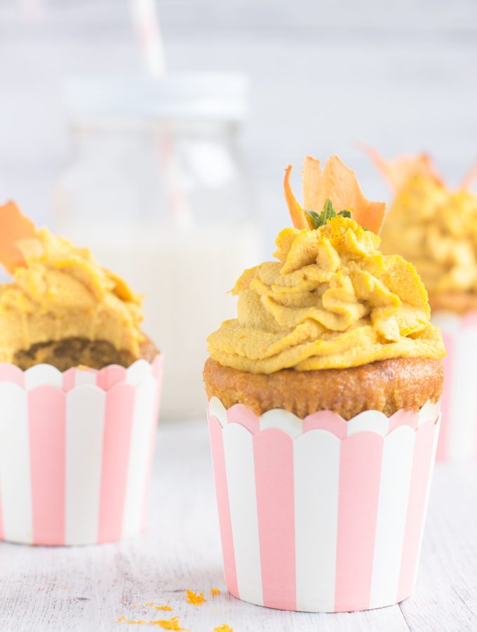 Vegan Carrot & Ginger Yogurt Cupcakes