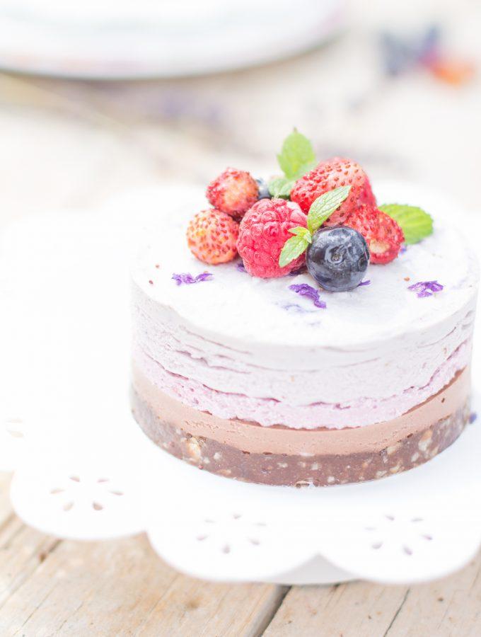 Cheesecake Raw al Cocco con Frutti di bosco e Lavanda | Vegan  & Gluten Free