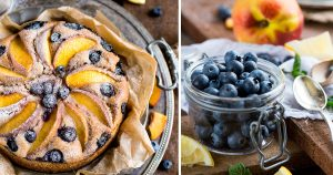BLUEBERRY PEACH YOGURT cake VEGAN + GLUTENFREE. Delicious and amazing decadent #eggfree #dairyfree healthy fruit pie | Torta PESCHE, MIRTILLI e YOGURT VEGAN + SENZA GLUTINE. Senza zuccheri raffinati, senza uova, senza burro.