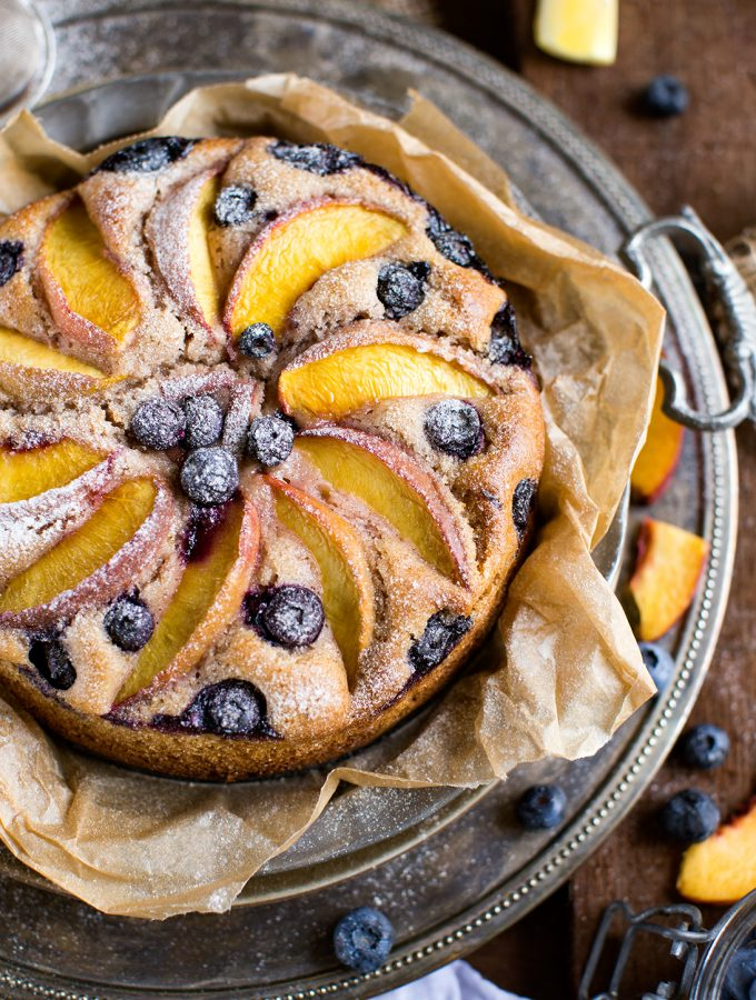 VEGAN BLUEBERRY PEACH YOGURT CAKE | Gluten Free