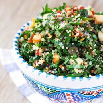 bowl with Vegan Gluten-free QUINOA TOFU TABBOULEH with marinated tofu