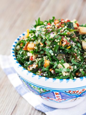 bowl with Vegan Gluten-free QUINOA TOFU TABBOULEH with marinated tofu