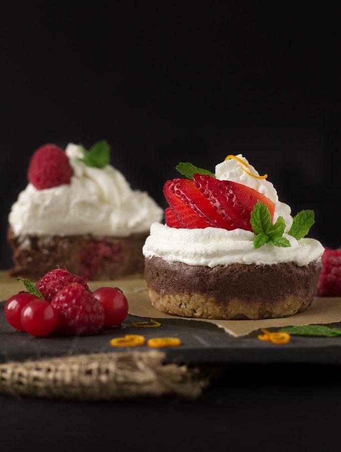 CHEESECAKE CUPCAKES CIOCCOLATO e BANANA SENZA COTTURA   vegan + senza glutine