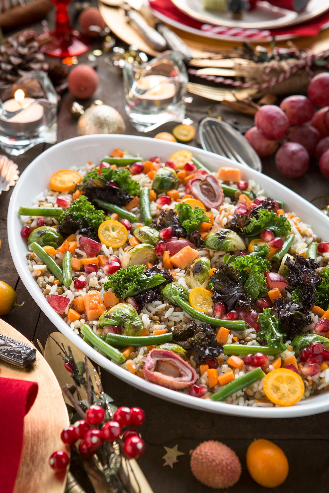 RISO e LENTICCHIE con verdure saltate e frutta esotica