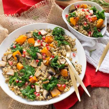 #vegan #glutenfree 30 minutes quinoa and lentil pilaf with pumpkin, kale and mushroom vegan glutenfree low fat| pilaf di quinoa e lenticchie vegan senza glutine con zucca cavolo e funghi