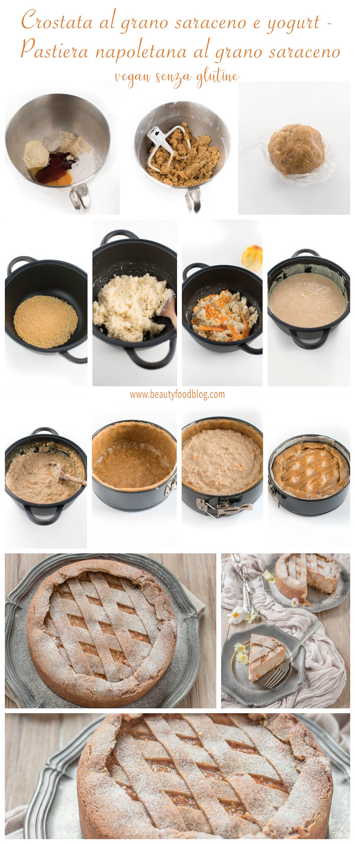 come preprare la pastiera napoletana vegan senza glutine crostata vegan senza glutine al grano saraceno e yogurt vegan buckwheat yogurt tart #glutenfree with vanilla and millet.jpg