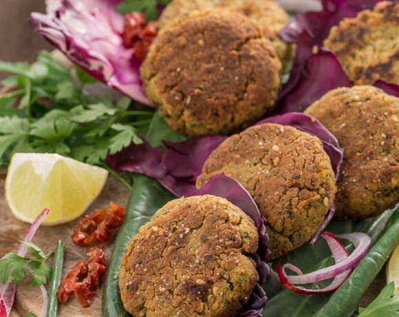 GLUTEN-FREE VEGAN BAKED FALAFEL with SUN-DRIED TOMATOES