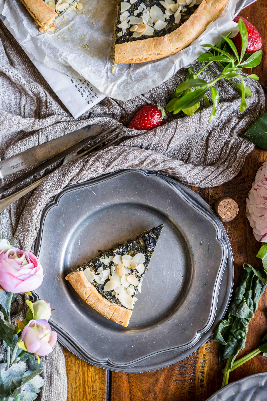 eggless vegan glutenfree spinach tofu quiche recipe - ricetta torta salata spinaci e tofu vegan senza glutine fetta
