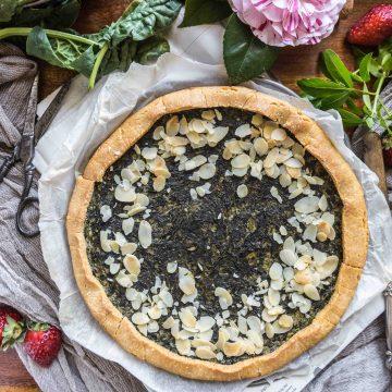 eggless vegan glutenfree spinach tofu quiche recipe - ricetta torta salata spinaci e tofu, vegan senza glutine leggera