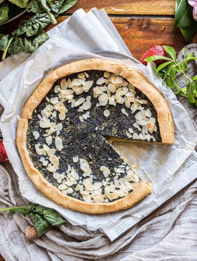 eggless vegan glutenfree spinach tofu quiche recipe - ricetta torta salata spinaci e tofu vegan senza glutine light quadrato