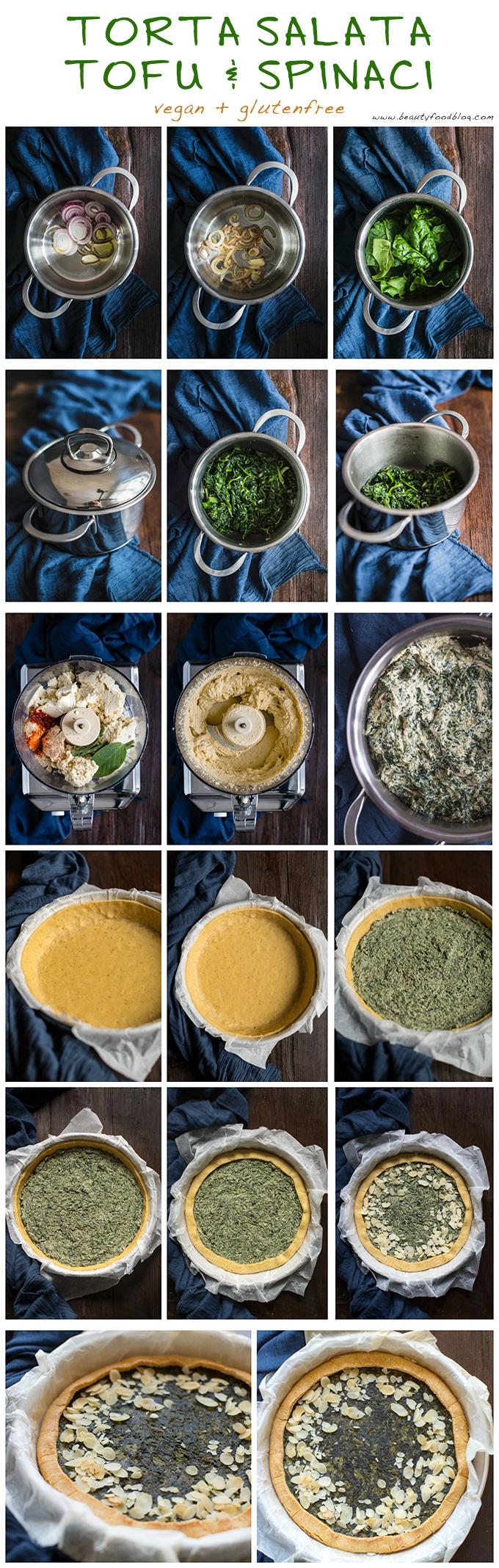 how to vegan glutenfree spinach tofu quiche recipe - come preparare torta salata spinaci e tofu vegan senza glutine senza uova- torta pasqualina senza ricotta vegana