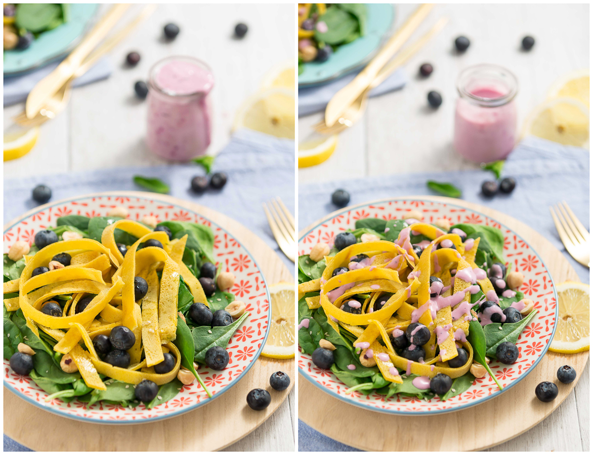 insalata di mirtilli spianci e nocciole con tagliatelle di crepes senza uova al miglio senza glutine vegan - blueberry spinach salad with eggfree vegan glutenfree crepes tagliatelle -collage