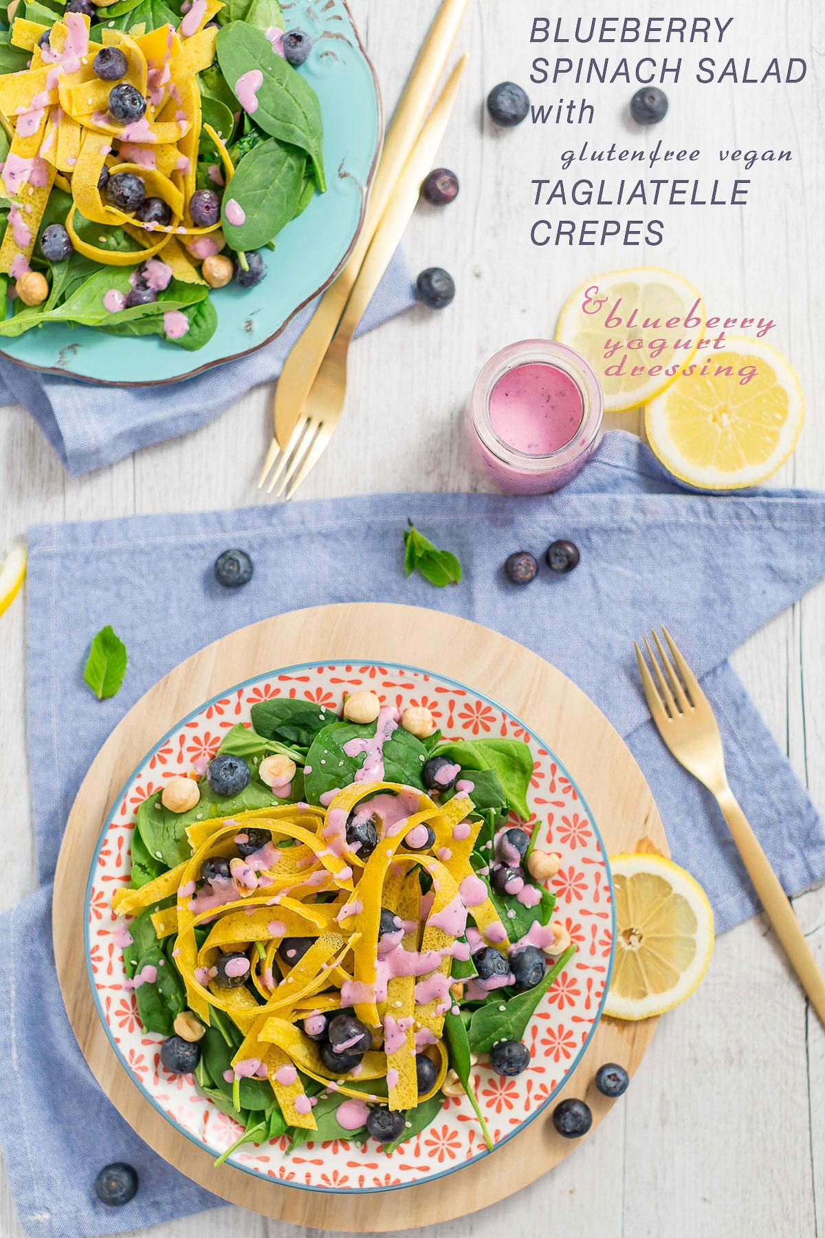 Blueberry spinach hazelnut salad with eggfree vegan glutenfree crepes tagliatelle   insalata di mirtilli spianci e nocciole con tagliatelle di crepes senza uova senza glutine vegan