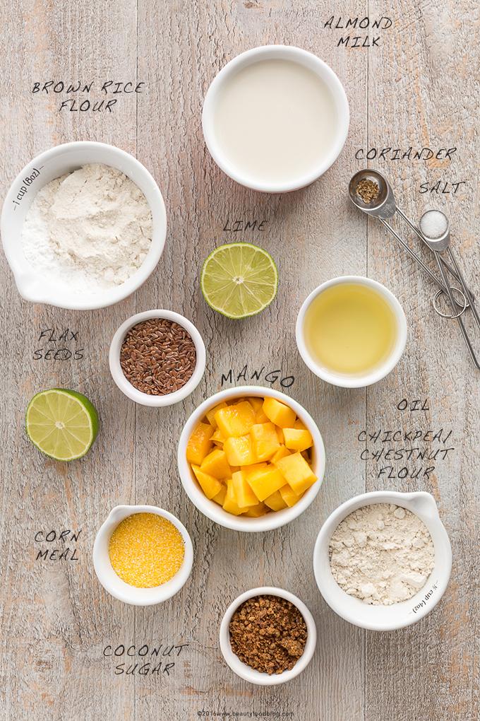 waffles al mango vegan senza glutine ingredienti - vegan glutenfree mango waffles ingredients