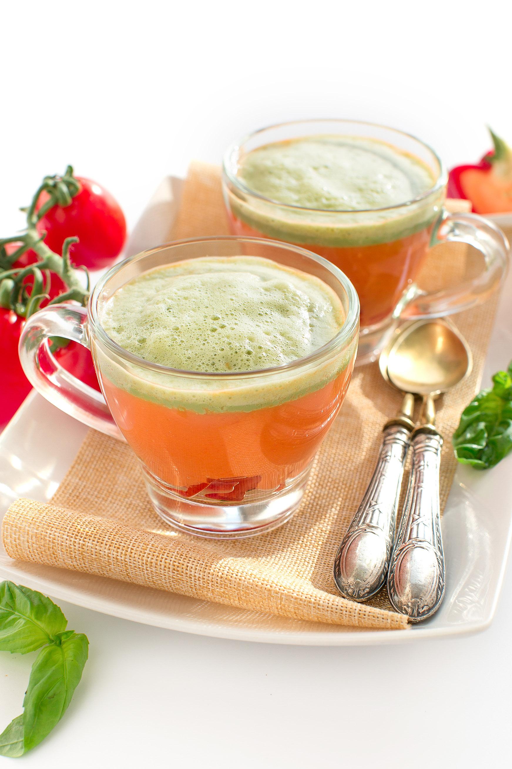Gazpacho recipe + fresh basil foam vegan glutenfree | ricetta gazpacho con schiuma al basilico #vegan