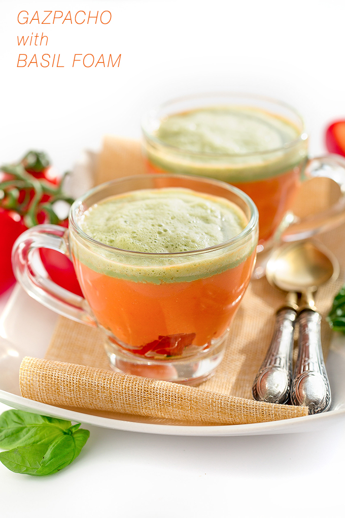Gazpacho recipe with fresh basil foam vegan glutenfree - ricetta gazpacho in bicchiere con schiuma al basilico #vegan