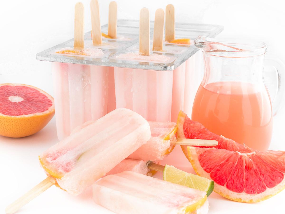 GHIACCIOLI al POMPELMO ROSA 3 ingredienti idratanti limonata al pompelmo - PINK GRAPEFRUIT POPSICLES 3 INGREDIETS easy #vegan recipe