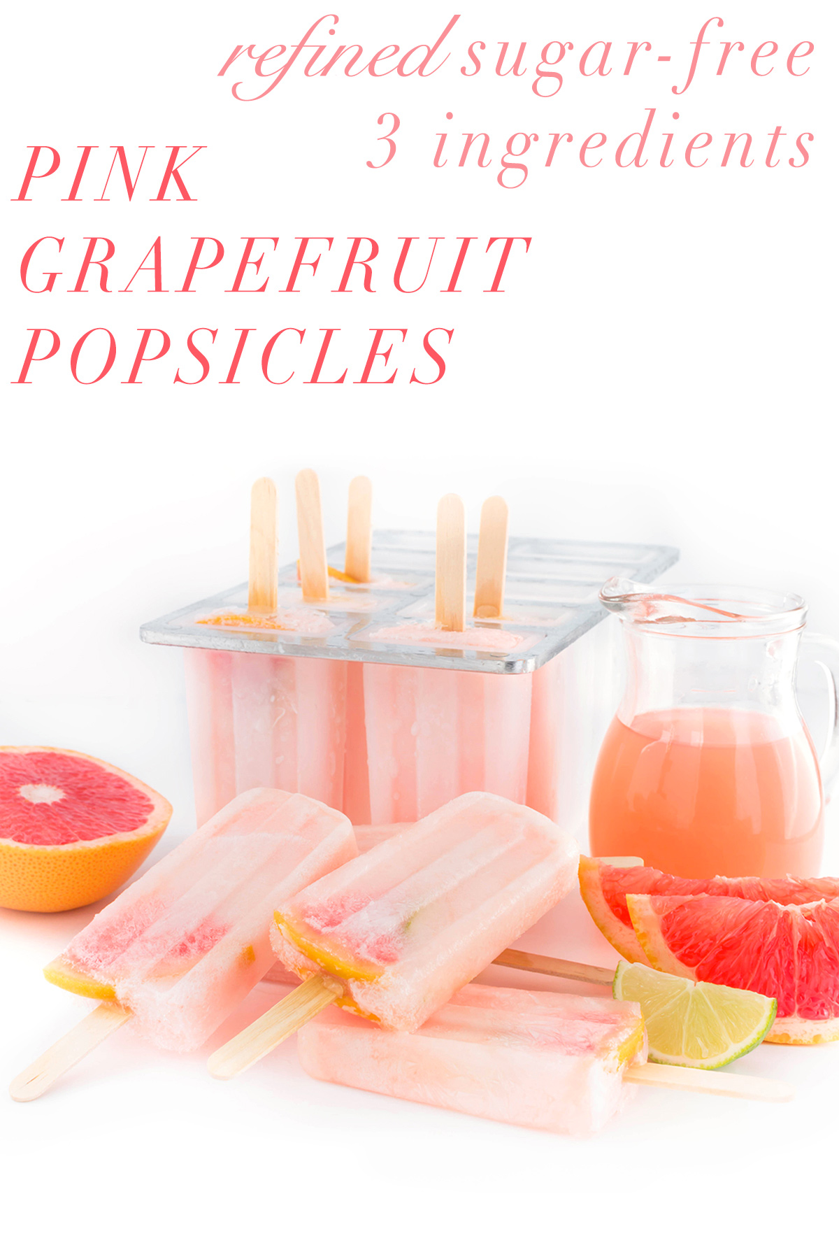 healthy refined sugar free 3 ingredients pink GRAPEFRUIT POPSICLES recipe - GHIACCIOLI al POPMELMO ROSA 3 ingredienti ricetta senza zucchero raffinato