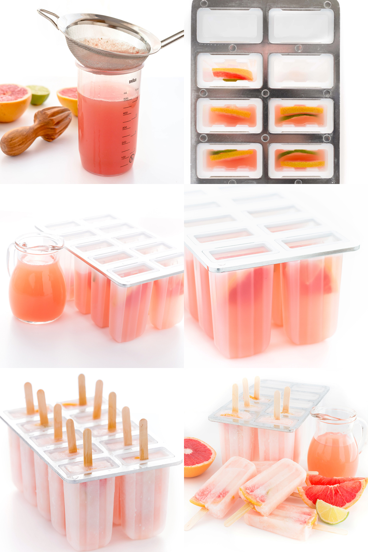 how to make healthy sugar-free 3 ingredients pink GRAPEFRUIT POPSICLES recipe - Ricetta GHIACCIOLI al POPMELMO ROSA 3 ingredienti senza zucchero
