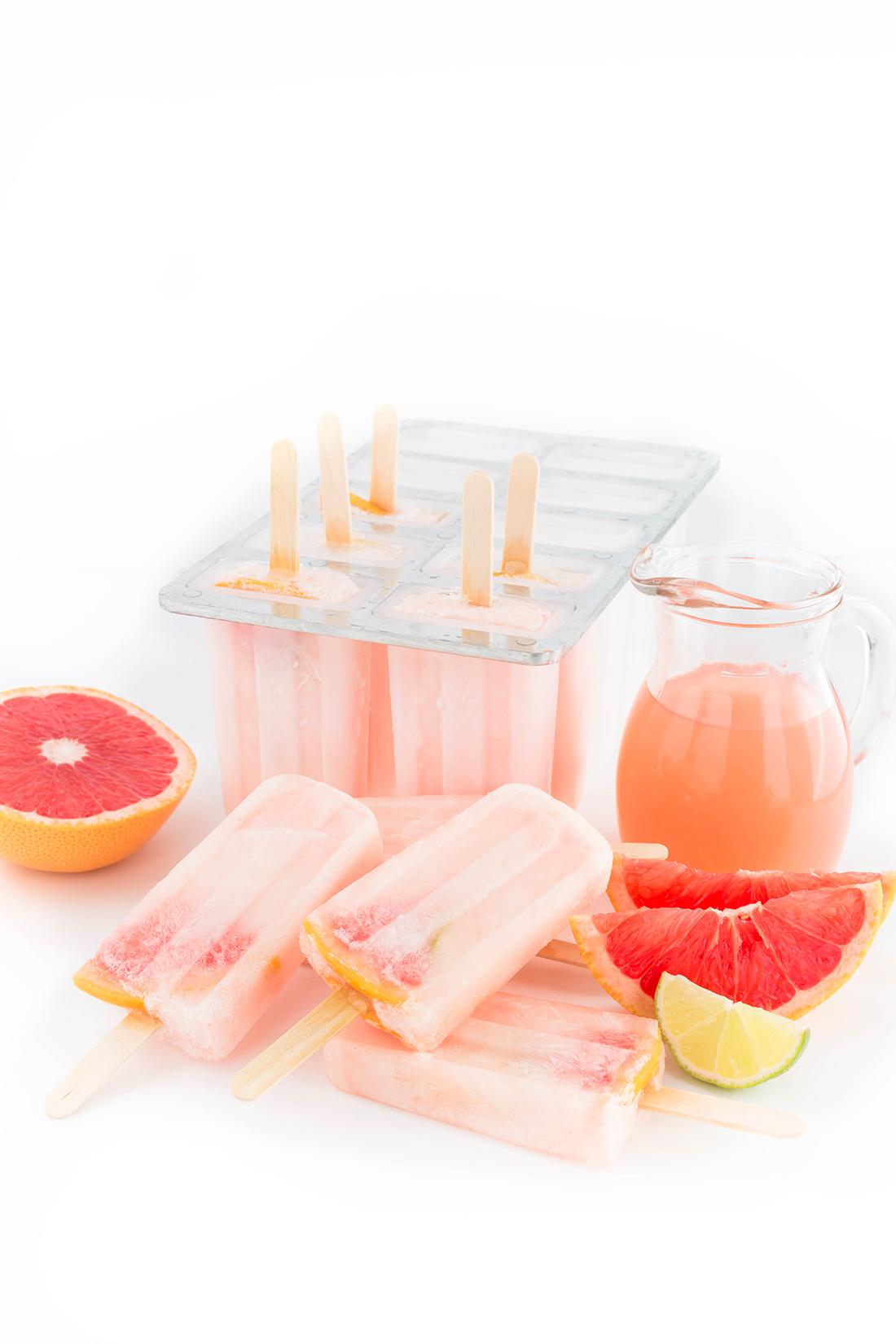 #vegan 3 ingredients SUGAR-FREE PINK GRAPEFRUIT POPSICLES - GHIACCIOLI al POMPELMO ROSA 3 ingredienti idratanti limonata al pompelmo recipe