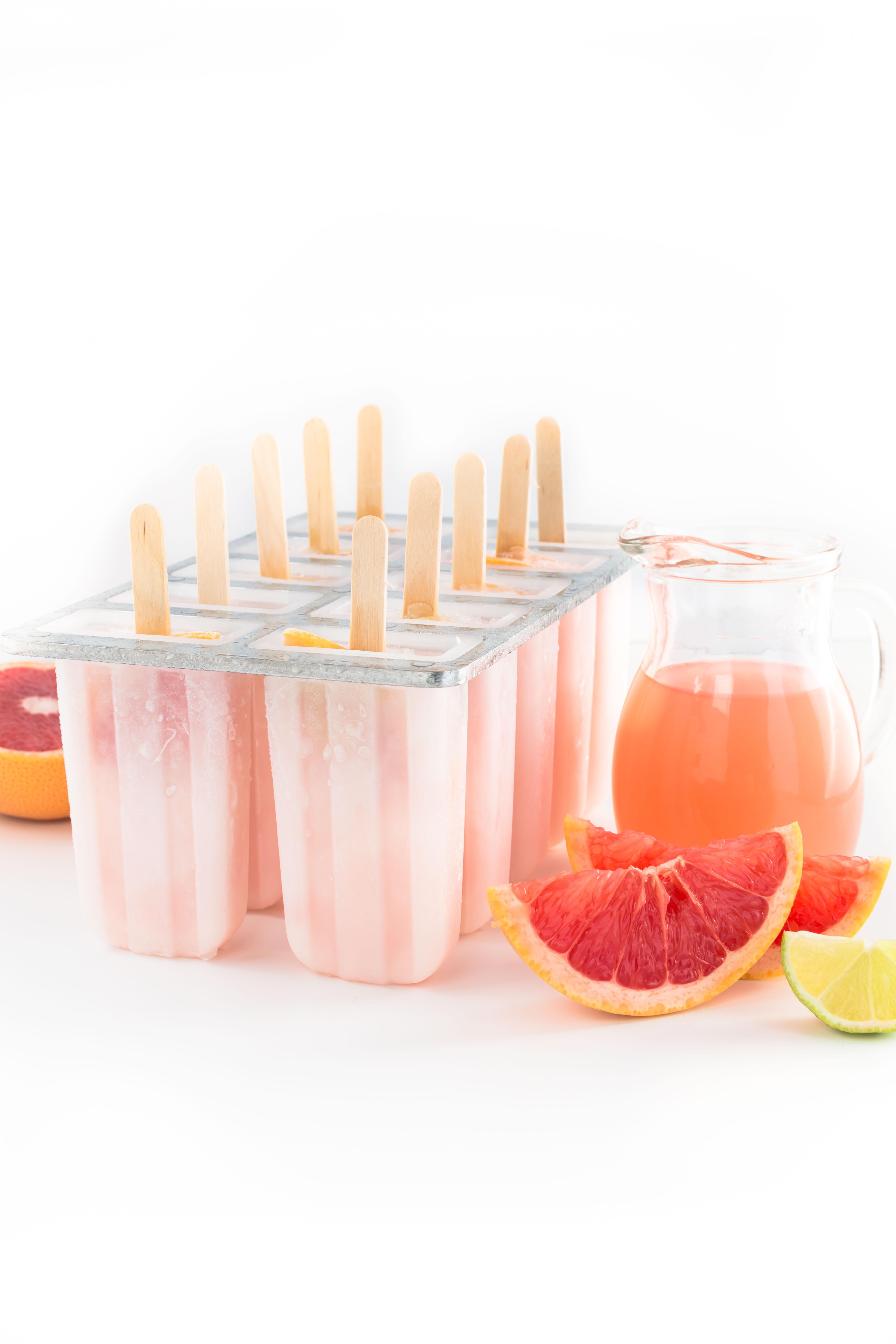 vegan PINK GRAPEFRUIT POPSICLES 3 ingredients easy & delicious - GHIACCIOLI al POMPELMO ROSA - limonata al pompelmo
