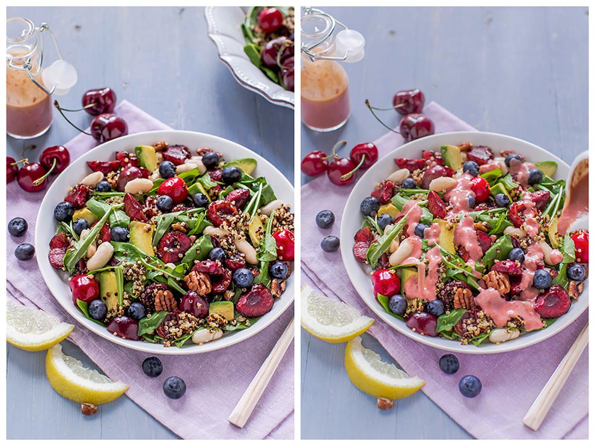 vegan balsamic cherry quinoa salad - insalata di quinoa e ciliegie senzaglutine