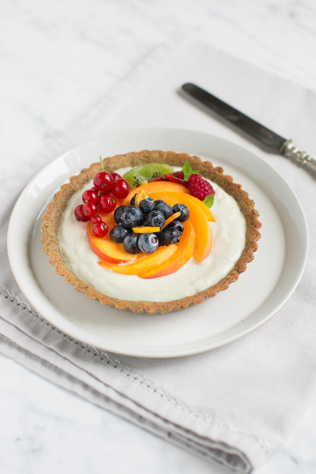 glutenfree vegan fresh fruit yogurt tart recipe - ricetta crostata allo yogurt frutta fresca vegan senza glutine