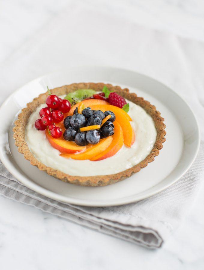 CROSTATA allo YOGURT e FRUTTA FRESCA  vegan + senza glutine