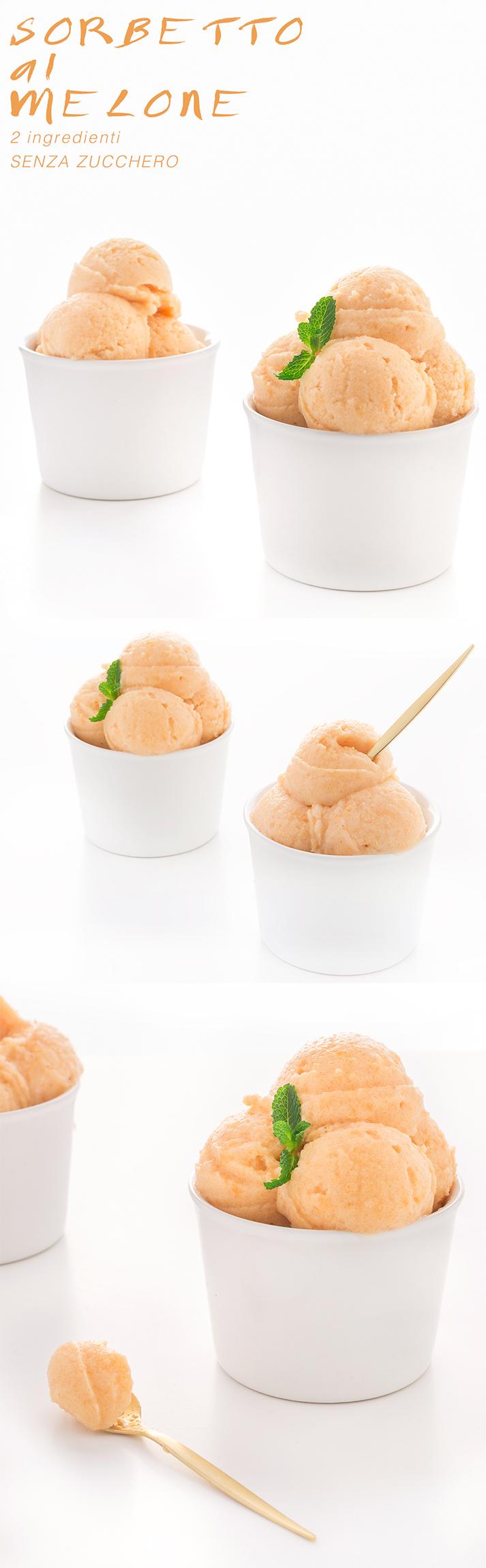 sugarfree vegan melon sorbet - sorbetto al melone senza zucchero