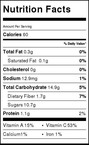 tabella nutrizionale sorbetto al melone senza zucchero - vegan melon sorbet sugarfree nutrition facts