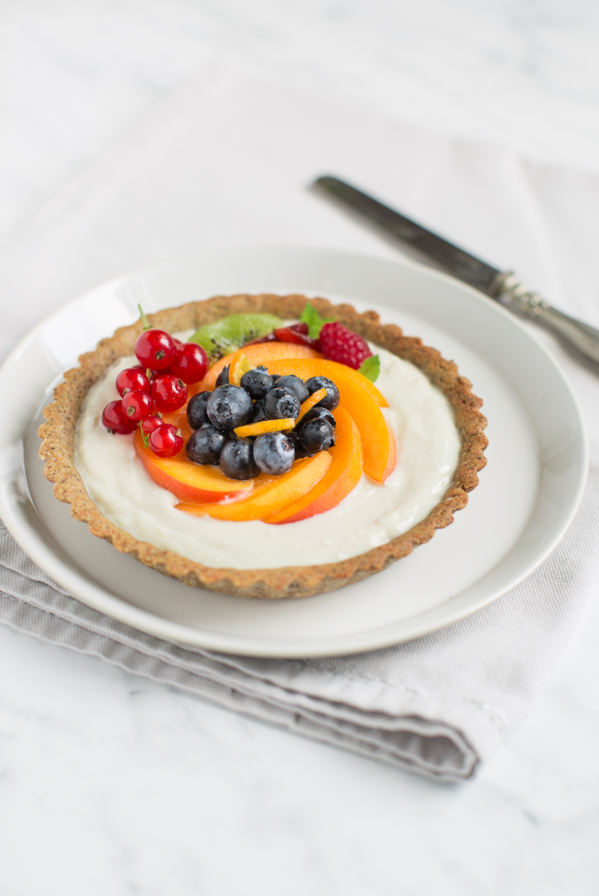 glutenfree vegan fresh fruit yogurt tart recipe - ricetta crostata allo yogurt frutta fresca vegan senza glutine