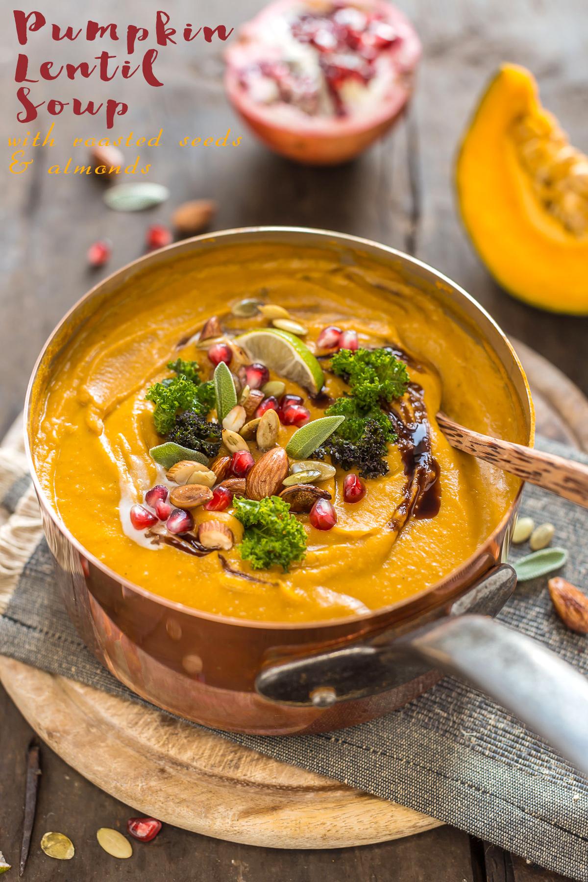 crema di zucca e lenticchie al latte di cocco e spezie vegan senza glutine - vegan coconut pumpkin lentil soup