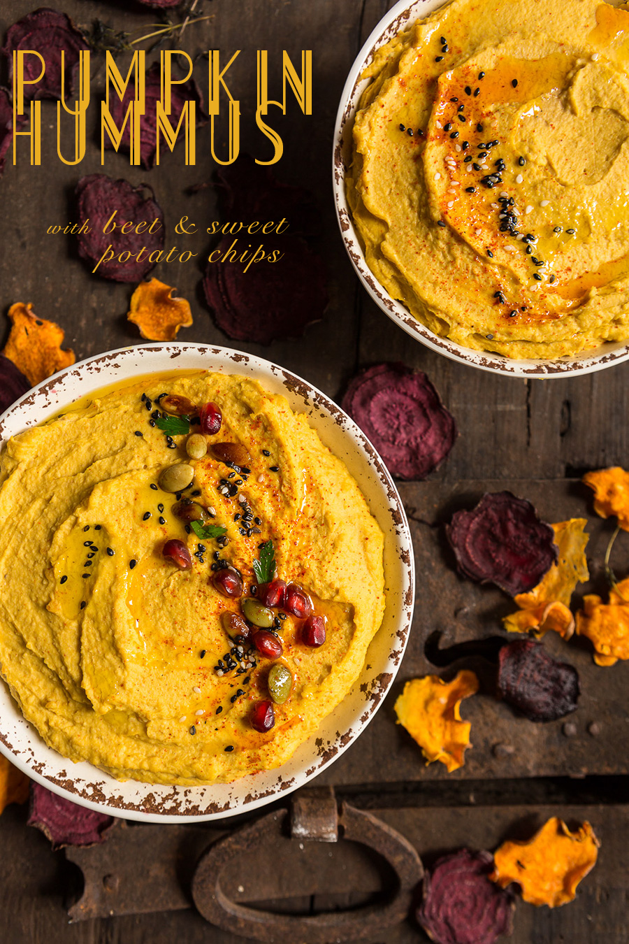 ricetta Hummus alla zucca con chips di barbabietola e patate dolci - pumpkin hummus with beet and sweet potato chips
