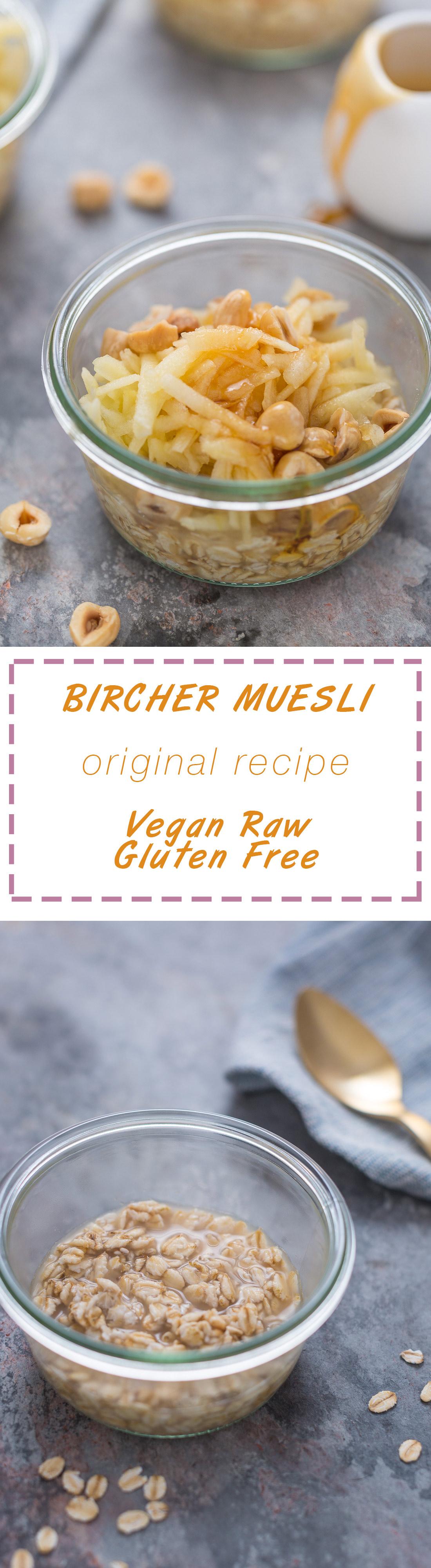 ricetta originale bircher muesli - avena con mele e nocciole o mandorle Original vegan Bircher muesli recipe