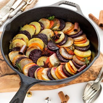 Ricetta RATATOUILLE INVERNALE di patate, barbabietola e zucca - Vegan AUTUMN TIAN Ratatouille with potato, beetroots and pumpkin