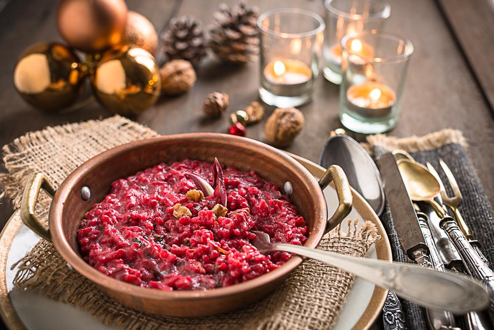 VEGAN APPLE BEET RADICCHIO RISOTTO- Italian recipe - Risotto al radicchio, barbabietola e mela con noci #detox - senza burro vegan -