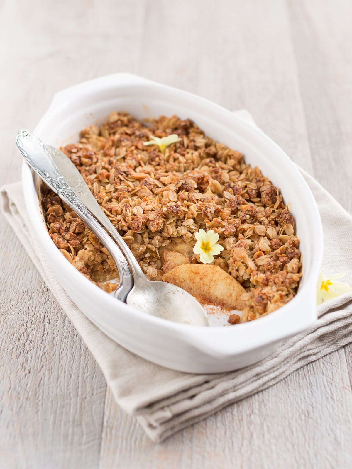 crumble di mele light vegan senza burro - healthy vegan apple crisp