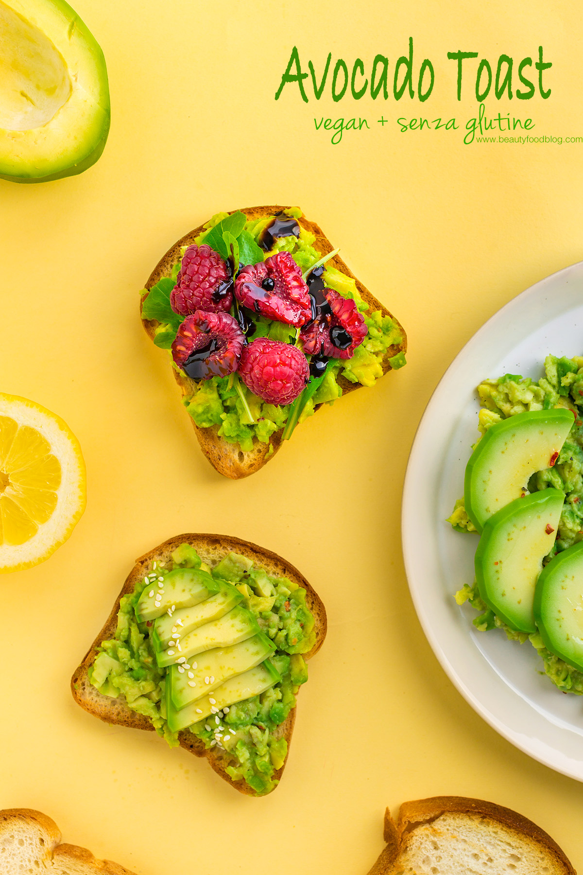 easy glutenfree vegan avocado toast recipe with raspberry -ricetta avocado toast vegan senza glutine con lamponi facile e veloce pinterest