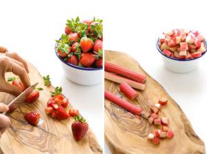 ricetta crumble di fragole e rabarbaro vegan senza glutine con mandorle e nocciole - vegan glutenfree rhubarb strawberry crisp prep