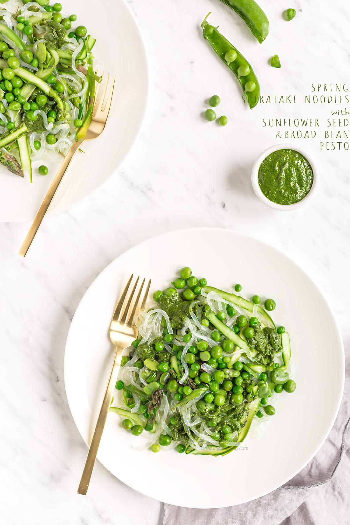 vegan peas and asparagus spring shirataki noodles with sunflower seed broad bean pesto glutenfree - ricetta shirataki noodles alle verdure con asparagi e piselli + pesto vegan di fave e semi di girasole -