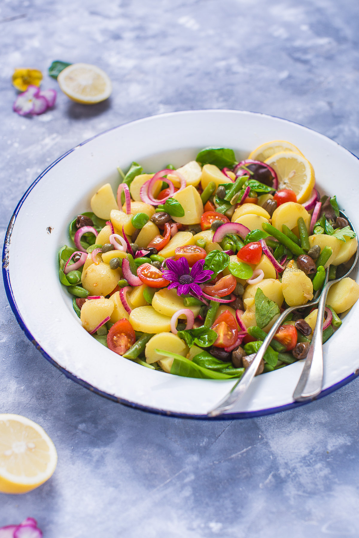 Italian spring fava bean and GREEN BEAN POTATO SALAD #VEGAN - insalata pantesca di patate con fagiolini e fave