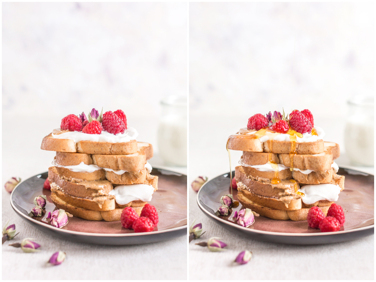 #vegan #glutenfree FRENCH TOAST recipe with vanilla and coconut whipped cream - FRENCH TOAST VEGAN SENZA GLUTINE alla vaniglia in padella e al forno collage