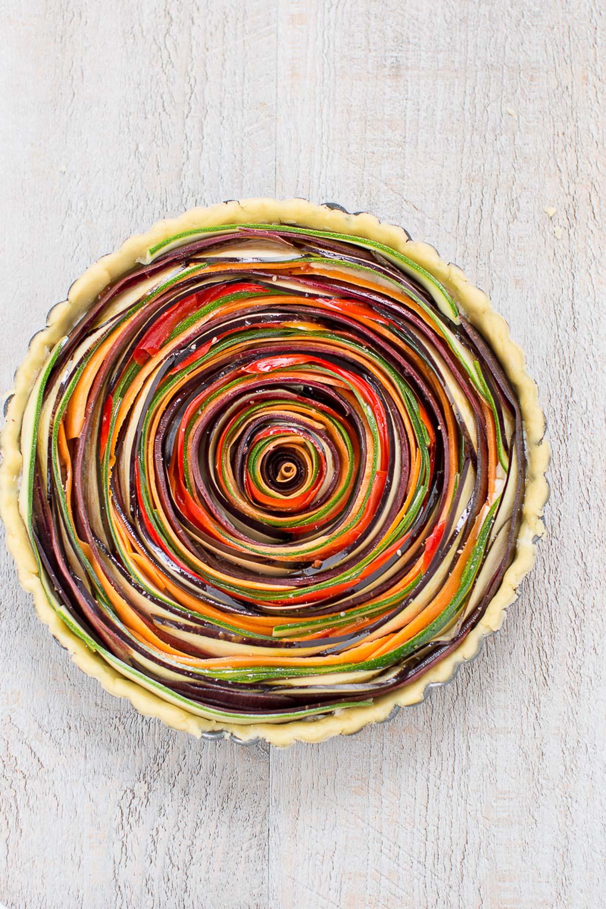 torta salata di verdure a spirale senza glutine senza uova senza burro #vegan #glutenfree vegetable spiral tart