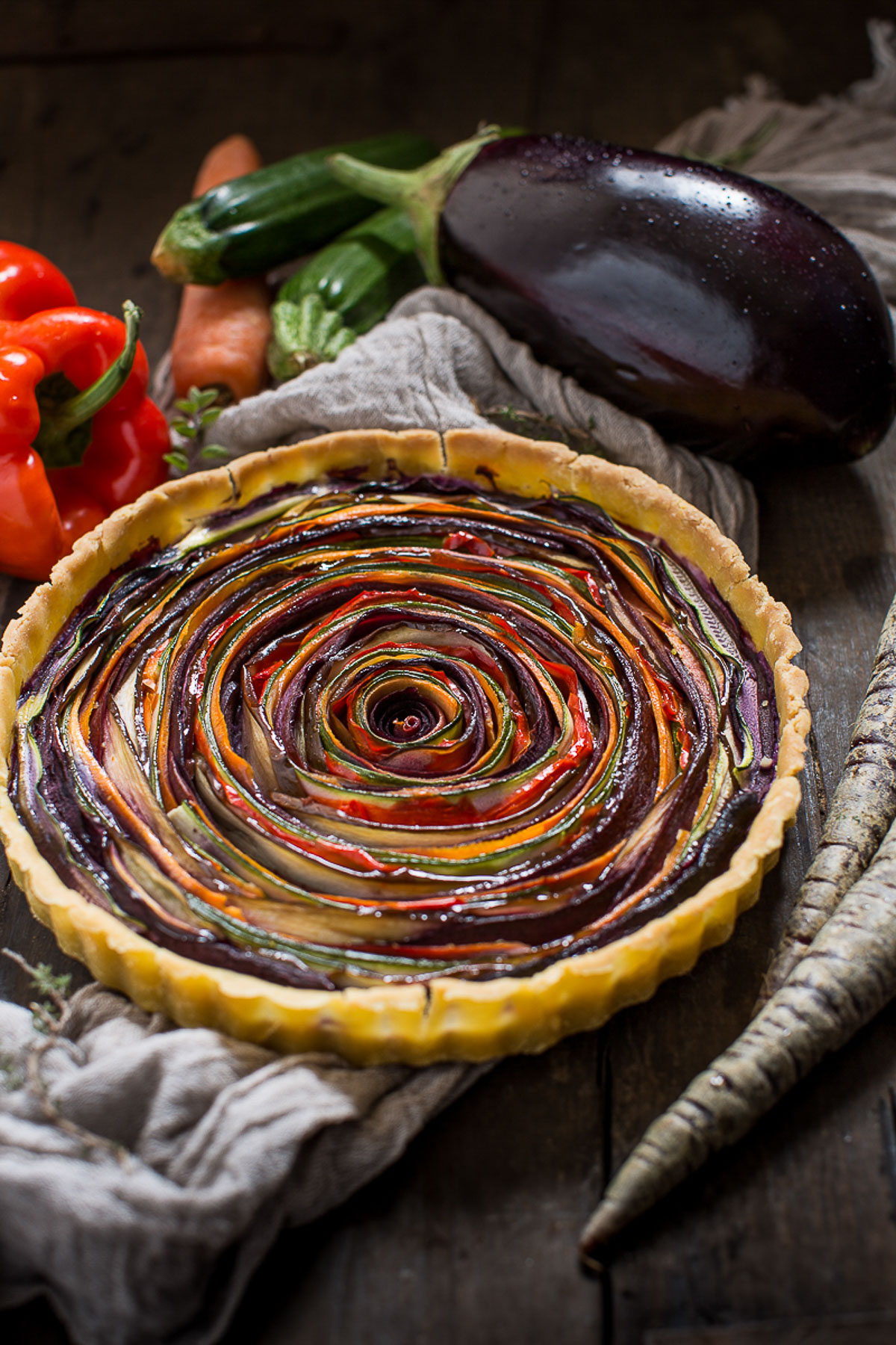 torta salata di verdure a spirale senza glutine senza uova senza burro #vegan ricetta | vegan #glutenfree vegetable spiral tart recipe