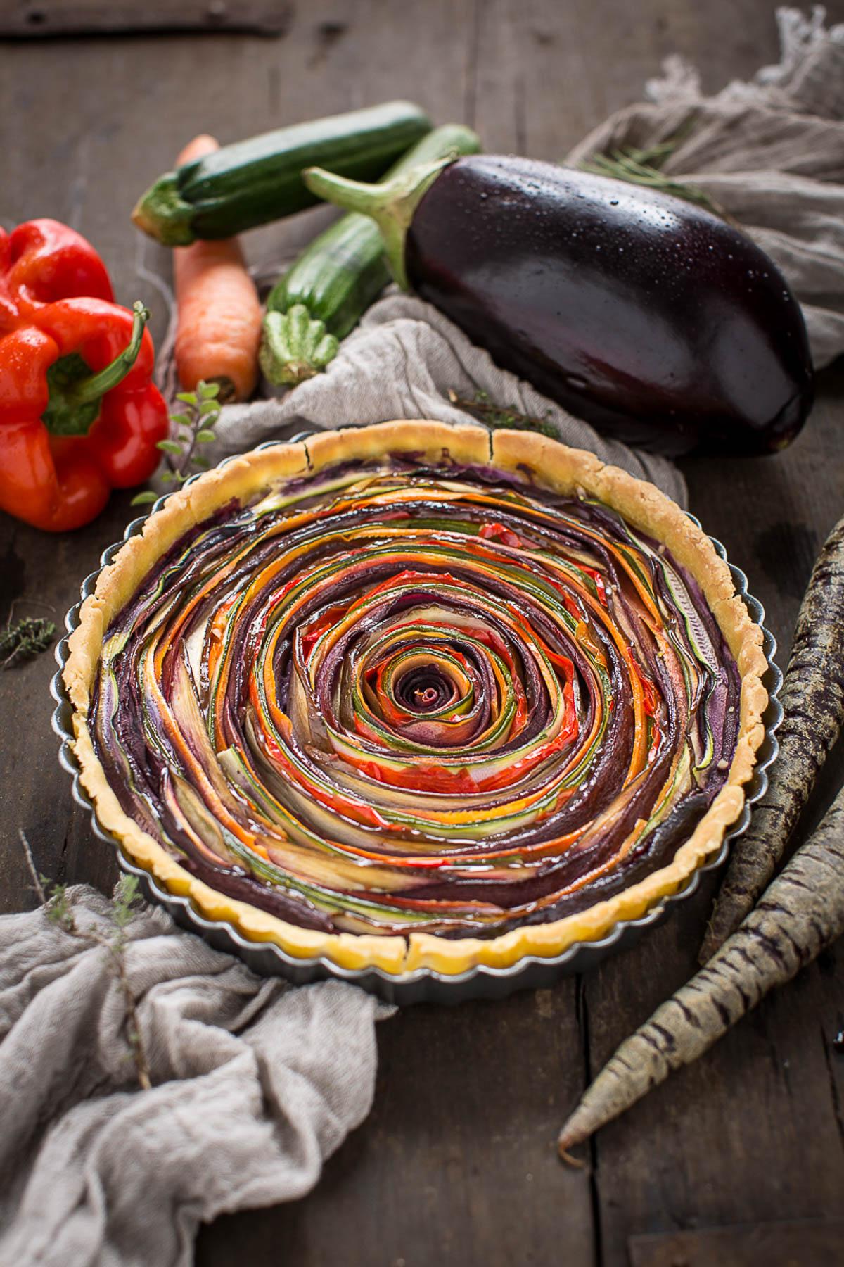 torta salata di verdure a spirale senza glutine senza uova senza burro #vegan | vegan glutenfree vegetable SPIRAL TART