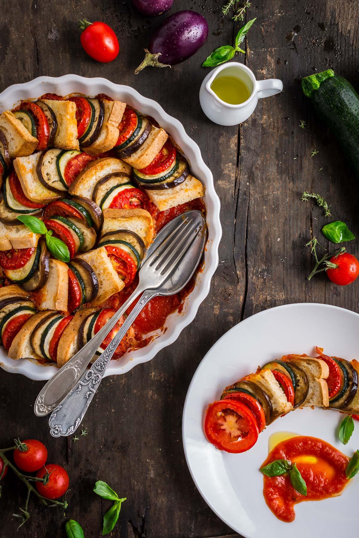 VEGETABLE BREAD RATATOUILLE TIAN recipe #vegan #glutenfree - TIAN RATATOUILLE di pane senza glutine e verdure con melanzane zucchine pomodori