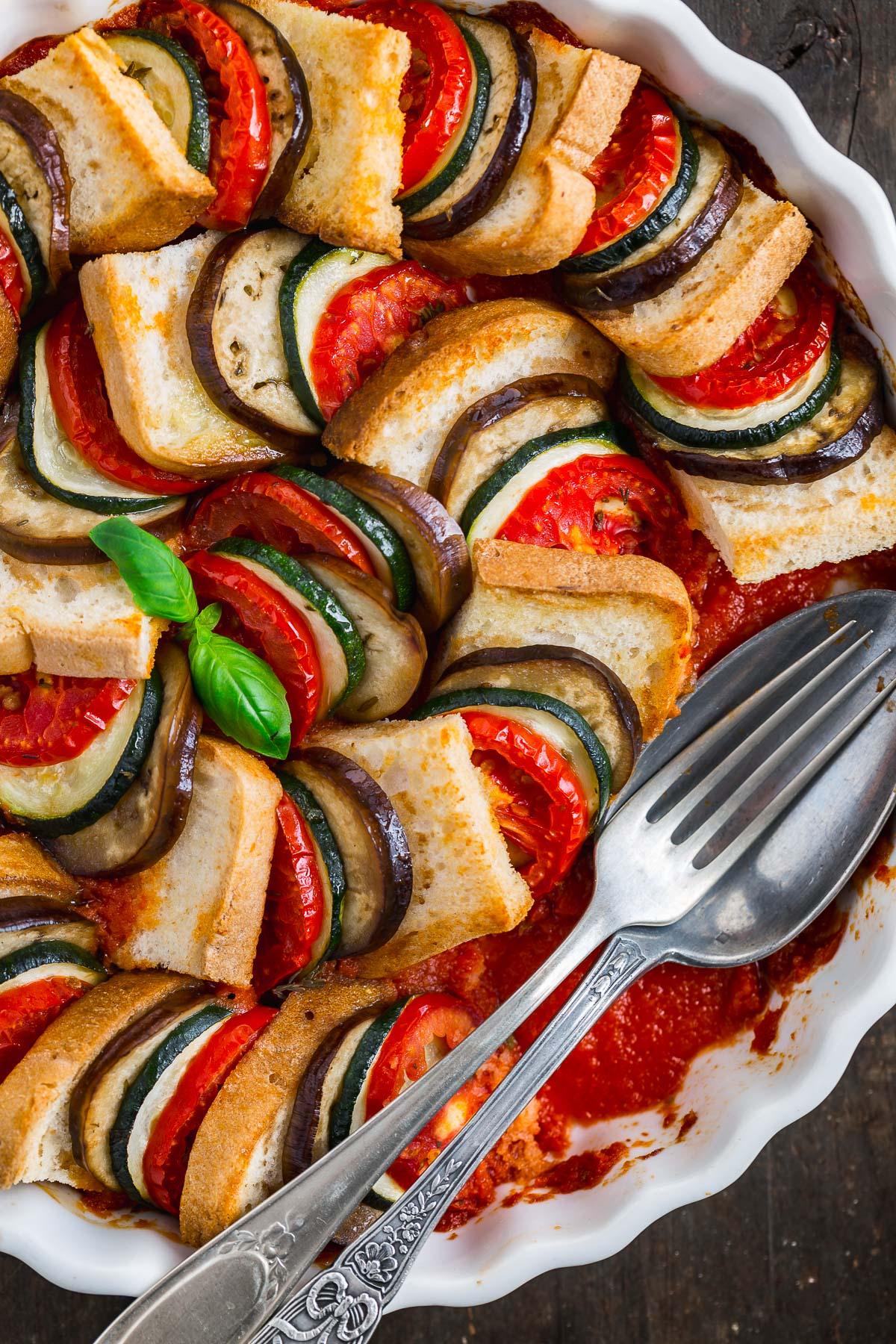 VEGETABLE BREAD RATATOUILLE TIAN recipe #vegan #glutenfree eggplant - TIAN RATATOUILLE di PANE senza glutine con verdure melanzane zucchine pomodori