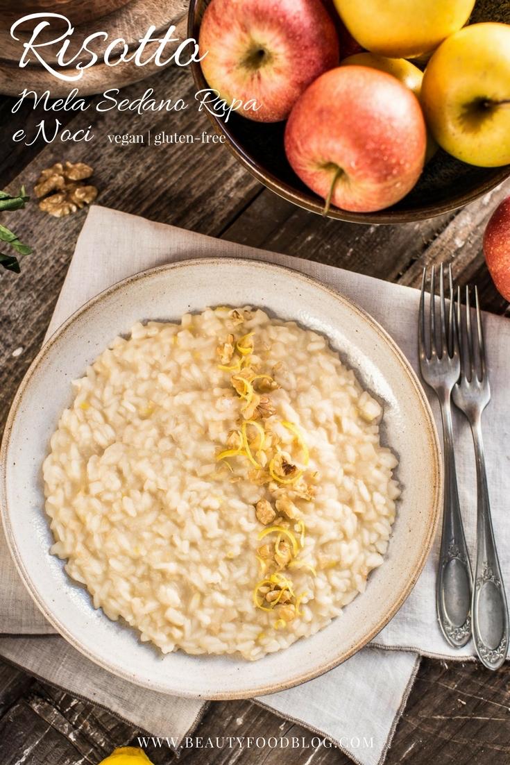 Risotto alle mele e sedano rapa con noci senza glutine - Vegan Waldorf Risotto glutenfree #Apple Celeriac #Risotto